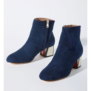 Anthropologie Blue Statement Heel Ankle Boots
